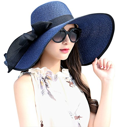Lanzom Womens Big Bowknot Straw Hat Foldable Roll up Sun Hat Beach Cap UPF 50+ (Navy Blue)