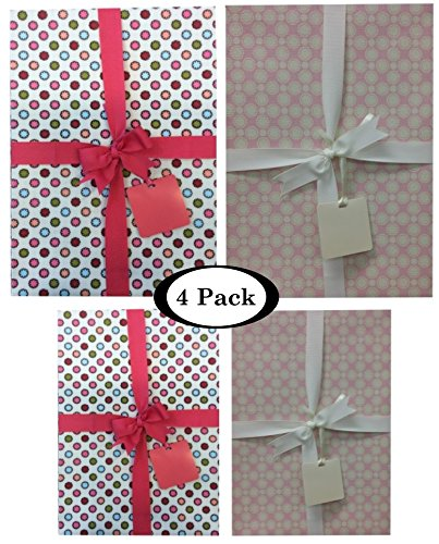 Gift Boxes With Lids All Occasion - 4 pack Assortment Bundle – Includes Ribbon and Card Tag (Retro Dots)