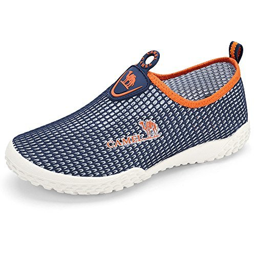 Camel Mens Slip On Sneakers Casual Shoes Breathable Mesh Low Top Lightweight Sneakers for Women Walking Unisex Shoes for Couples Size 7,Blue/Orange
