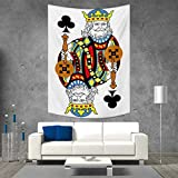 smallbeefly King Tapestry Table Cover Bedspread Beach Towel King of Clubs Playing Gambling Poker Card Game Leisure Theme Without Frame Artwork Dorm Decor 54W x 72L INCH Multicolor