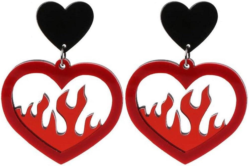 Qpodgq Arete Pendientes Colgantes De Acrílico Rojo Grande Con Corazón Rojo Mujeres Hip Hop Night Club Lady Punk Pendientes Joyas Pendientes