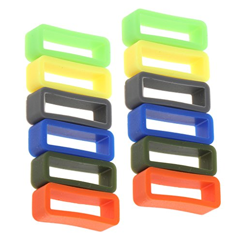MagiDeal 12 Pieces Bright Color Silicone Rubber Replacement Watch Band/Strap Loop in Different Size 10mm-22mm - - Online Loop The In