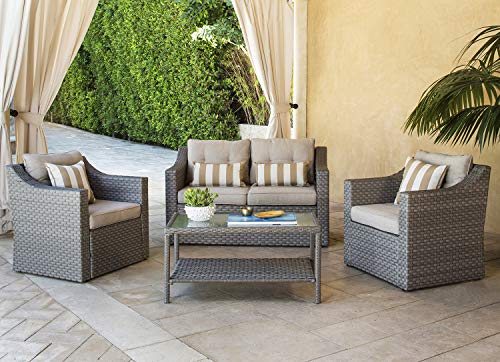 Wicker 4 Piece - Solaura Outdoor Patio Furniture Set 4-Piece Conversation Set Grey Wicker Furniture Sofa Set with Neutral Beige Cushions & Sophisticated Glass Coffee Table