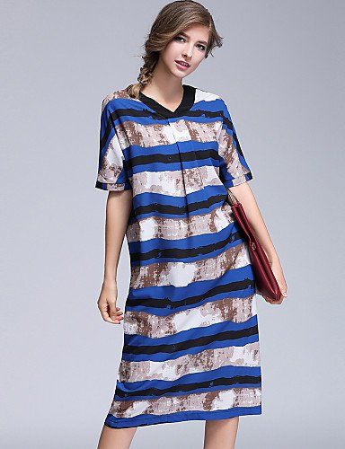 JIALELE Vestido Fiesta Mujer,De Fiesta La Vestimenta Femenina,Impresión De Manga Corta Con Cuello V Inelástica Opaco Blue