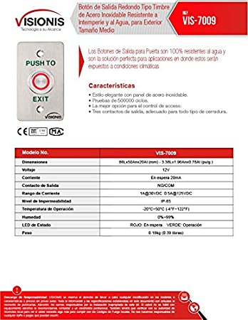 Visionis VIS-7009 Botón de Solicitud de Salida Tamaño Mediano, Para Uso Exterior Impermeable de Acero Inoxidable para Control de Acceso, Tipo Timbre de ...