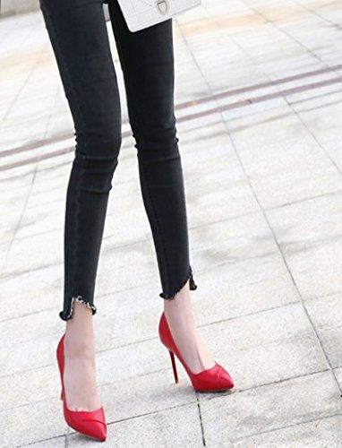 singole profon Poco Ajunr di Nozze 38 Sandali Donna tallone alti il trentacinque Da Sharp Banchetto 9cm Alla Scarpe Sexy tacchi Rosso Bene Moda UURSfq7P