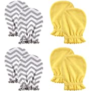 Luvable Friends Scratch Mittens 4 Pack, Yellow Chevron