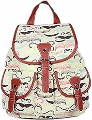 Yonger Canvas Mustache Print Vintage Backpack School Bag for College Students