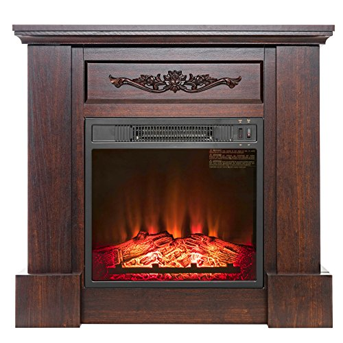 "FIREBIRD 32"" Freestanding Insert Brown Wooden Push Button Control Electric Fireplace Stove Heater w/ Log Bed"