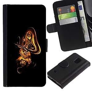 UNIQCASE - Samsung Galaxy S5 V SM-G900 - cool abstract gold shape - Cuero PU Delgado caso cubierta Shell Armor Funda Case Cover