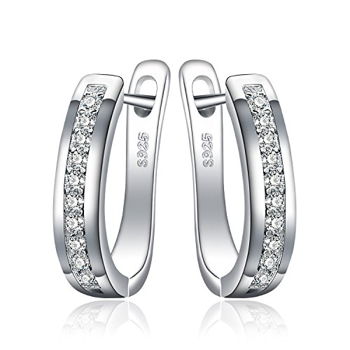 JewelryPalace Eternity Cubic Zirconia Wedding Huggie Hoop Earrings Channel Set 925 Sterling Silver
