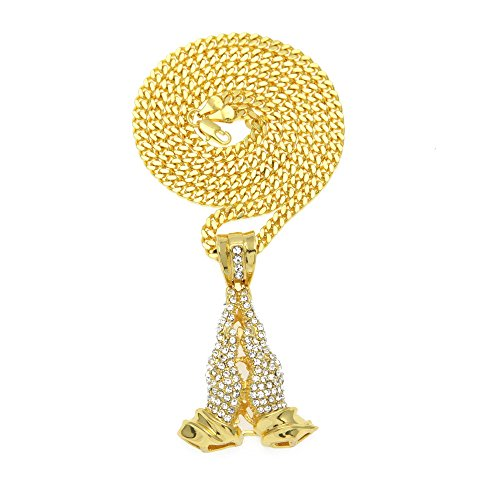 Hombres Orar Manos Acero Colgantes Blings Collares de Cristal Oro Oración Jesús Joyas Cadenas de Tenis Hip Hop,D