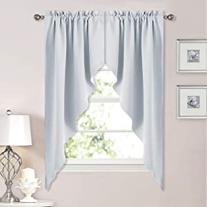 NICETOWN Room Darkening Window Treatment Kitchen Tier Curtains- Tailored Scalloped Valance/Swags for Bedroom (One Set, W36 X L63 Inches Each Panel,Platinum-Greyish White)