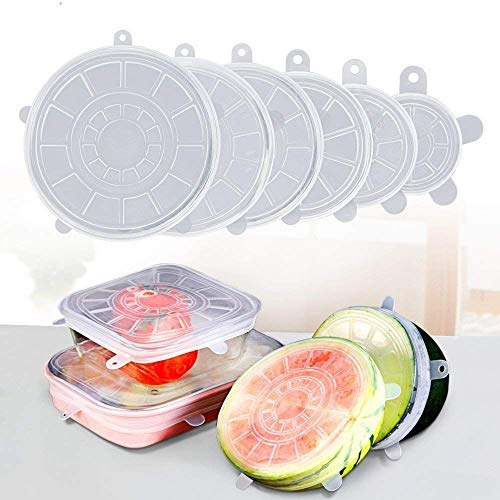 HETASH® Microwave Safe, Reusable, Durable, Dishwasher Silicone Stretch Lids Flexible Bowl Covers for Bowl, Can, Jar, Glassware (Set of 6) Price & Reviews
