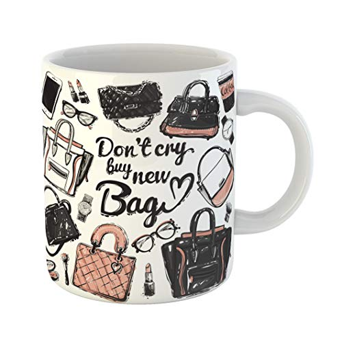 Emvency Coffee Tea Mug Gift 11 Ounces Funny Ceramic Graphic Different Glasses Watch Coffee Cup Smartphone Perfume Lipstick Gifts For Family Friends Coworkers Boss Mug ()