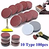 100PCS Sanding Discs Pad Kit, 2 inch Assorted 80-3000 Grit Sandpaper with Backer Plate 1/4'' Shank, for Drill Grinder Rotary Tools