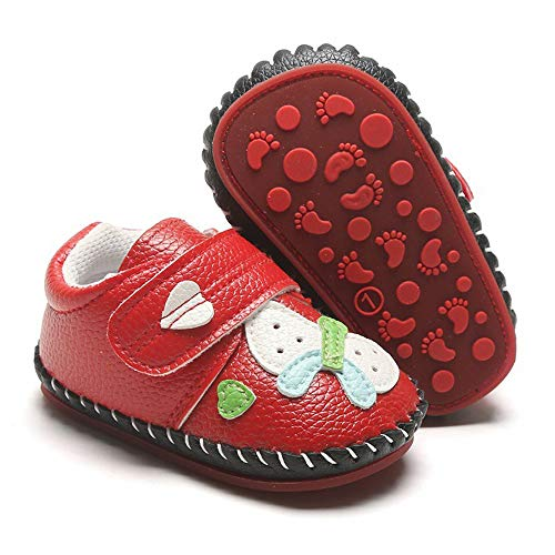 SOFMUO Baby Girls Boys Pu Leather Sneakers Anti-Slip Rubber Sole Cartoon Moccasins Handmade Newborn Slippers Hard Bottom Toddler First Walkers Infant Crib Shoes (Butterfly Red,12-18 Months)