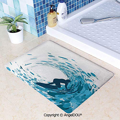 SCOXIXI Printed Non Slip Entry Door Mat Bathroom Carpet Silhouette of a Surfer Under Giant Ocean Waves Athlete Hobby Lifestyle Image Area Rugs for Dining Room Living Room Kitchen.W23.6xL35.4(inch)