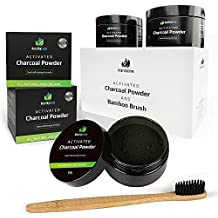 Natural Charcoal Teeth Whitening Powder | 2 Packs of 60g | 100% Natural & Organic Activated Charcoal | Teeth & Gum Anti-Bacterial Remineralizing Solution | Free Bamboo Toothbrush | HealthyGene