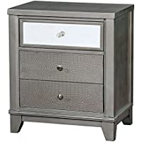 Furniture of America CM7289SV-N Bryant II Silver Night Stand Nightstands