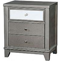 Furniture of America CM7289SV-N Bryant II Silver Night Stand Nightstands