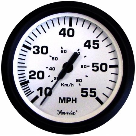 Faria Beede Instruments 32909 4 in. Euro White Speedometer, 55MPH Mechanical