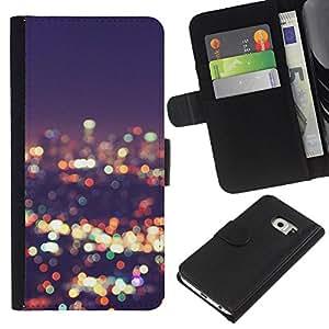 KLONGSHOP // Tirón de la caja Cartera de cuero con ranuras para tarjetas - luces horizonte de la ciudad de desenfoque noche brillante - Samsung Galaxy S6 EDGE //