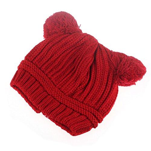 Nation Cute Baby Kids Girl Boy Dual Balls Warm Winter Crochet Knitted Cap Hat Beanie Caps (Red)