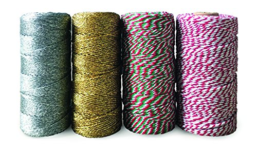 Christmas Bakers Twine 4 roll Set (440 yds): Metallic Gold, Metallic Silver, Red/White, Red/White/Green (110 yds Each roll) ()