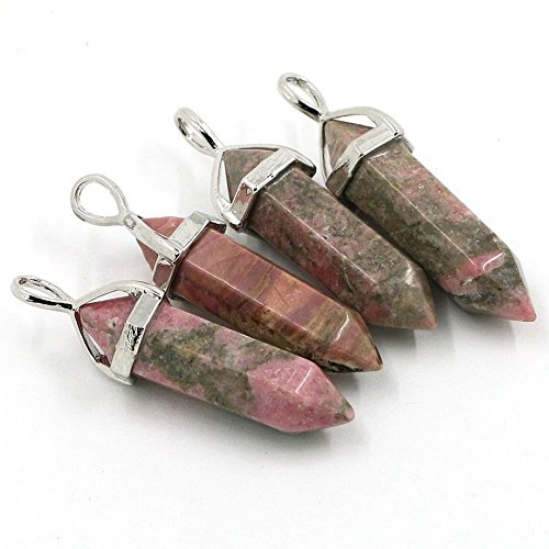 Bullet Shape Natural Pendant Real Line Rhodonite Women Chakra Gemstones Summer Jewelry