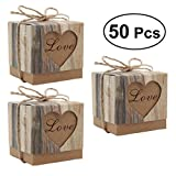 50pcs/pack DIY LOVE Pillow Candy Boxes Vintage Craft Paper Candy Gift Boxes Wedding Party Favor