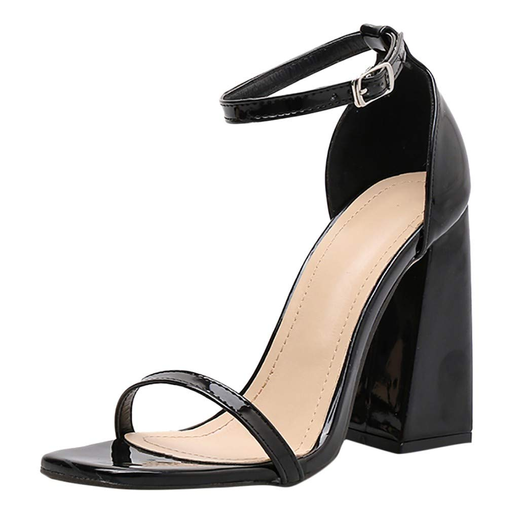 Women's Strappy Chunky Block High Heel - Formal, WeddingSharemenParty Simple Classic Pump(Black,US: 7.5) by Sharemen Shoes (Image #1)