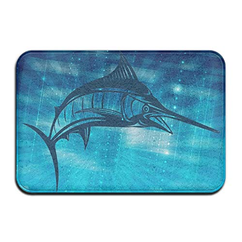 Non Slip Door Decorative Garden Office Bathroom Mat Outdoor, Marlin Fish Clipart Outdoor Rubber Mat Front Door Mats Porch Garage Large Flow Slip Entry Carpet Standard Rug Home 23.62