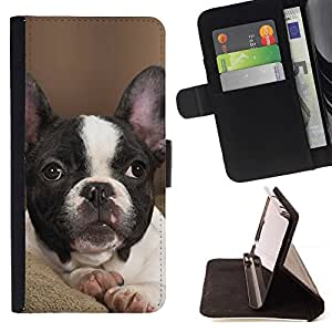 For Samsung Galaxy Note 4 IV French Bulldog Boston Bull Terrier Pet Beautiful Print Wallet Leather Case Cover With Credit Card Slots And Stand Function