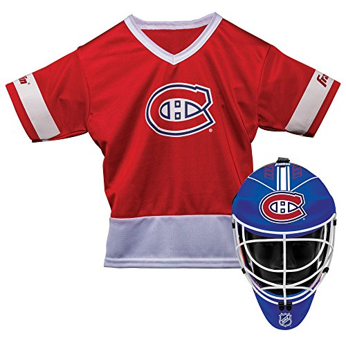 (Franklin Sports Montreal Canadiens Kid's Hockey Costume Set - Youth Jersey & Goalie Mask - Halloween Fan Outfit - NHL Official Licensed)