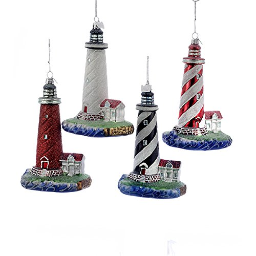 set of four christmas lighthouses