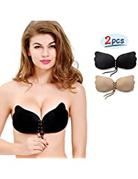 Strapless Backless Invisible Push-up Silicone Bra [New Version] by NATIA (2 Pack)