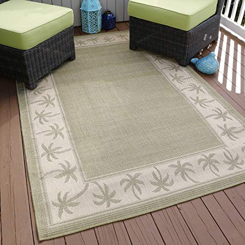 blueone1 Somerset Home Palm Trees Indoor/Outdoor Area Rug, Green, 5' x 7'7