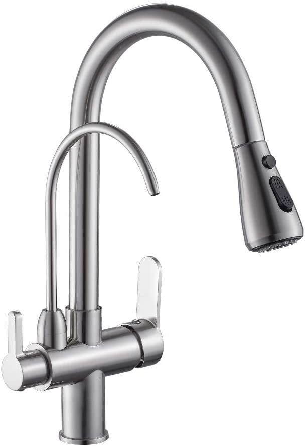 Modern Kitchen Faucet Pull Down Kitchen Sink Faucet Dual Handle 3 In 1 High Arc Water Filter Purifier Faucets Brushed Nickel 0195sn Amazon Com