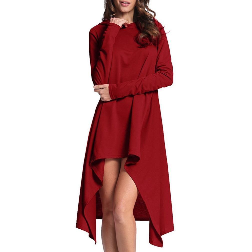 Women Dress, Gillberry Women Ladies Long Loose Irregular Hoodie Tops Sweatshirt Sweater Blouse (XL, Red)
