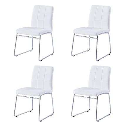 Groovy Modern Dining Chairs Set Of 4 Dining Room Chairs With Faux Leather Padded Seat Back In Checkered Pattern And Sled Chrome Legs Kitchen Chairs For Squirreltailoven Fun Painted Chair Ideas Images Squirreltailovenorg