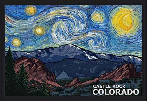 Castle Rock, Colorado - Pikes Peak - Starry Night (36x24 Giclee Art Print, Gallery Framed, Black Wood)