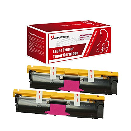 Awesometoner Compatible 2 Pack Toner Unit For QMS 2500 M 1710587-006, Konica Minolta QMS Color Magicolor 2500W, 2530DL, 2550 High Yield Magenta 8000 Pages