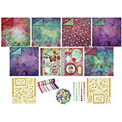 Illuminate Paper Crafting Collection by Hot Off The Press | Coordinated Collection Including 12 Double-Sided Papers, Dazzles Stickers, Ribbons, Die Cuts, Enamel Dots, and Embellishments