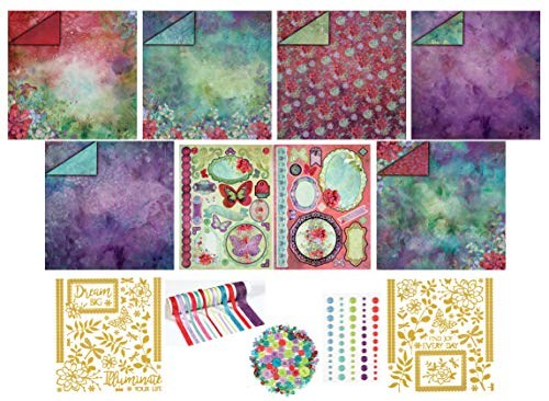 Illuminate Paper Crafting Collection by Hot Off The Press | Coordinated Collection Including 12 Double-Sided Papers, Dazzles Stickers, Ribbons, Die Cuts, Enamel Dots, and Embellishments ()