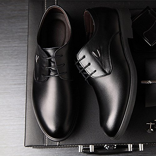 Matte Classique 39 Doublés Homme Noir Respirant PU Cuir en Color Richelieus Chaussures pour Noir Taille Haut d'affaires 2018 Lacets Formelles Hommes Oxford EU qgXRBYw