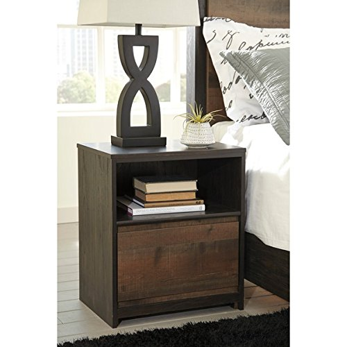 Signature Design by Ashley Windlore Dark Brown One Drawer Night - Glasses South Hampton