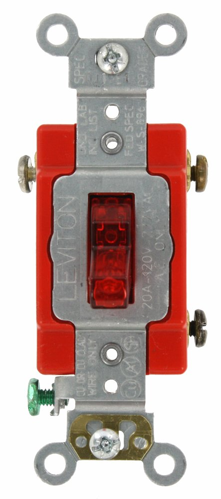 leviton 1221 plr 20 amp 120 volt toggle pilot light illuminated leviton 1221 plr 20 amp 120 volt toggle pilot light illuminated on req neutral single pole ac quiet switch extra heavy duty grade self grounding