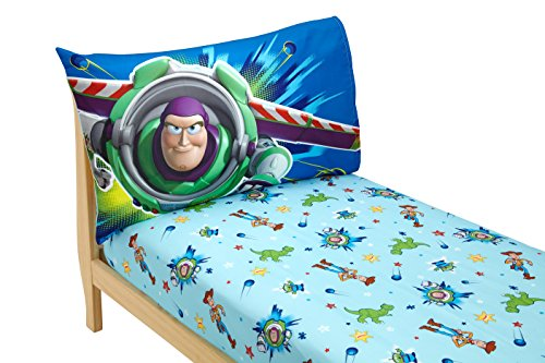 Disney Toy Story Power Up 2 Pack Fitted Sheet and Pillowcase Toddler Sheet Set, Blue/Green - Kids Toddler Sheet Set