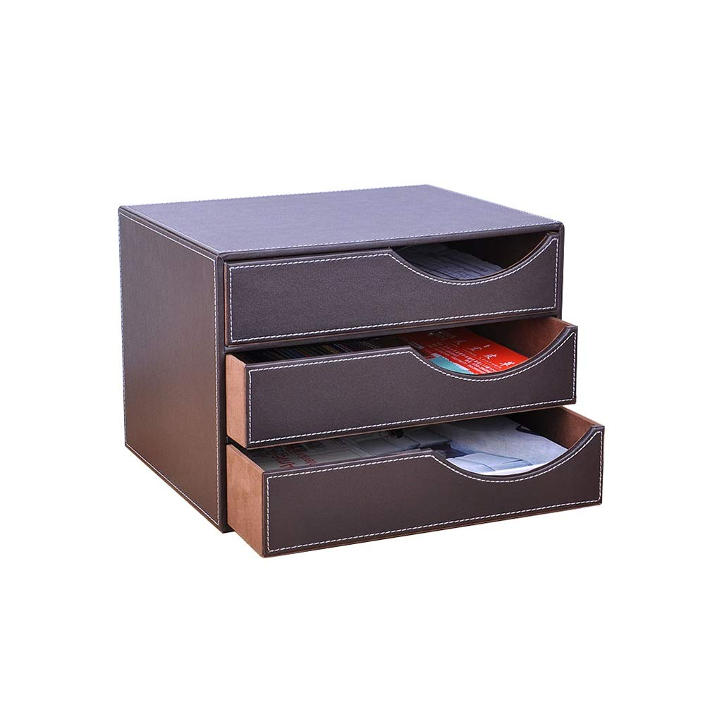 QSJY File Cabinets Document Storage Cabinet, Desktop Extension Drawer Office Organizer(PU Leather) 32.5x25x23.5cm (Color : B)
